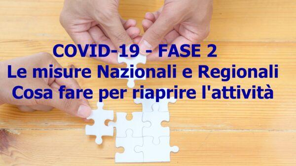 COVID-19 – FASE 2 – Le misure Nazionali e Regionali – Cosa fare per riaprire l'attività