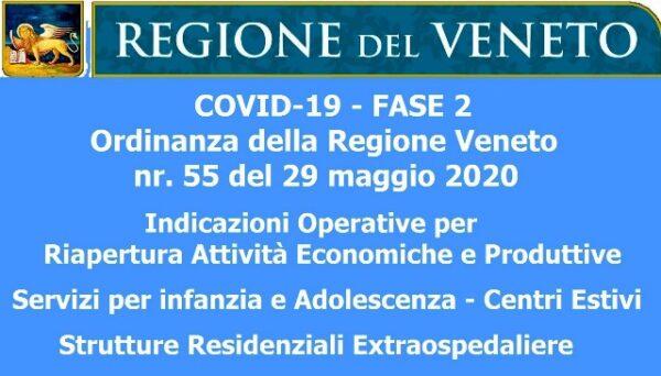 COVID-19 – FASE 2 – Ordinanza della Regione Veneto nr. 55 del 29 maggio 2020 sulla Riapertura delle Attività Economiche e Produttive