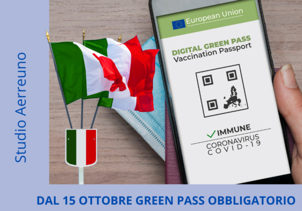 Aggiornamento Green Pass obbligatorio 15 ottobre 2021